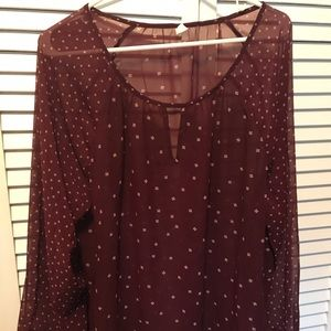 Old Navy sheer maroon blouse, size XL